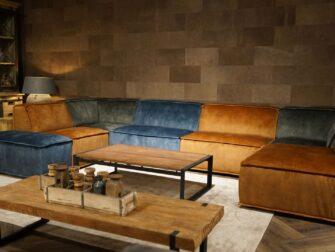 Hoekopstelling Rovato in de kleuren Cognac, Hunter en Petrol velvet