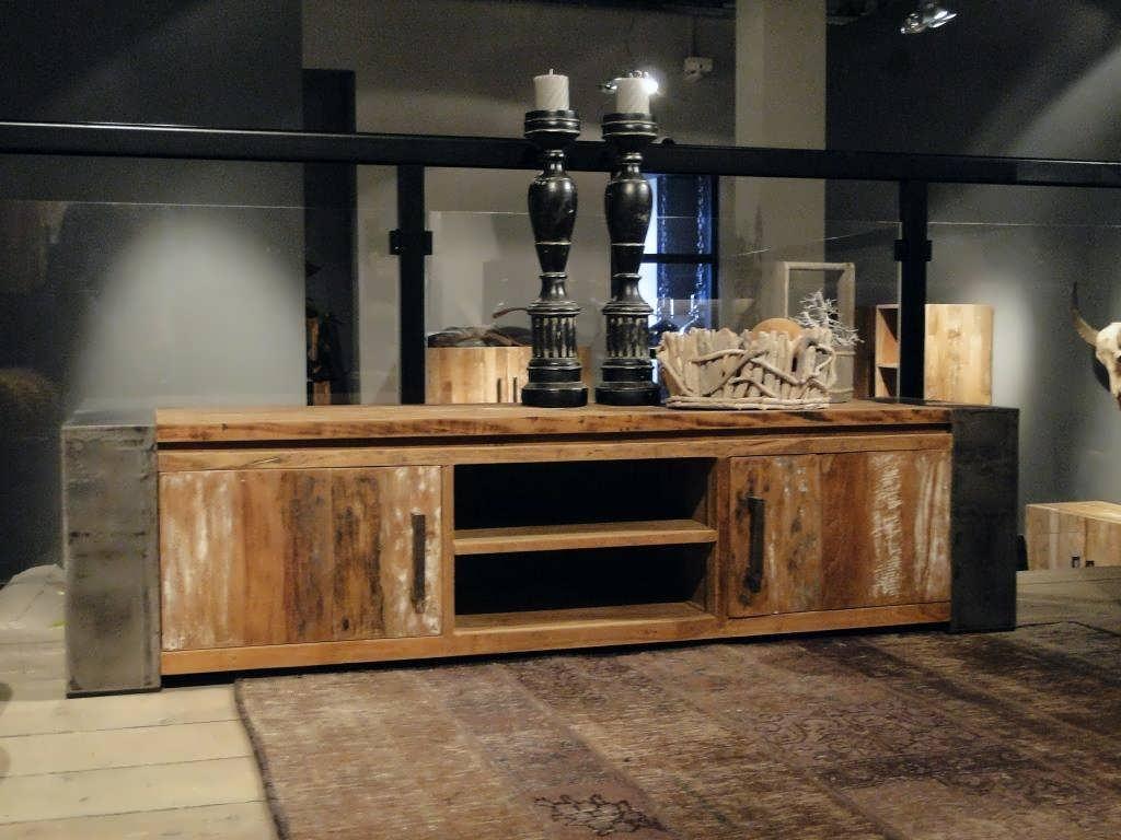 Industriele Tv Meubels : Houten tv meubel asmund van oud hout robuustetafels