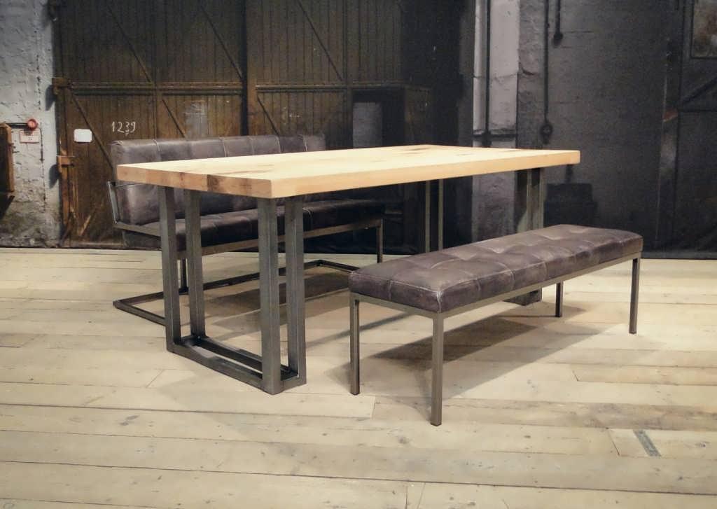 Robuuste Eiken Tafel : Industriele tafel courbevoie robuust eiken robuustetafels