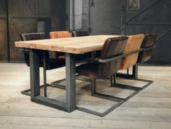 Robuuste Eiken Tafel : Industriele tafel montreuil robuust eiken robuustetafels