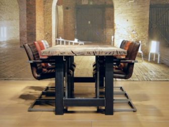 industriele eiken tafel caivano