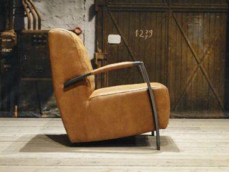industriele fauteuil edmund cognac