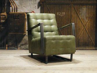 Industriele leren fauteuil Owen