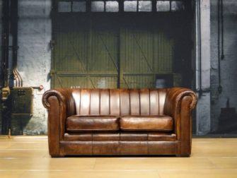 stoere chesterfield bank leer tobacco