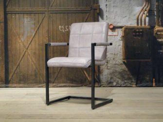 leren Eetkamerstoel vienne square - vintage grey