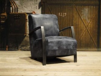Fauteuil Leer Donkerblauw.Basil Fauteuil