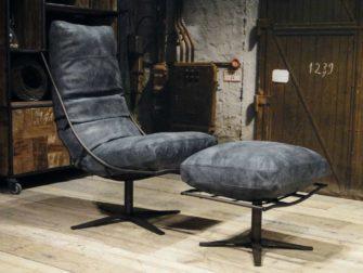 draai fauteuil met poef