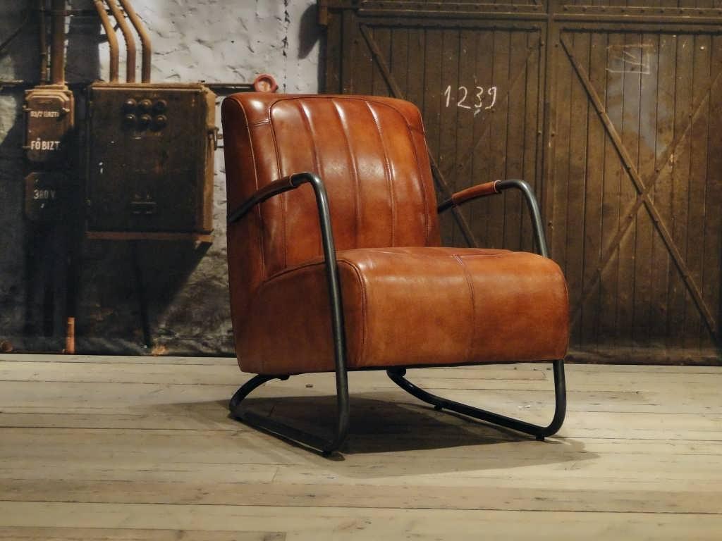 vintage Fauteuil Cambrai vertical - buffel leer cognac