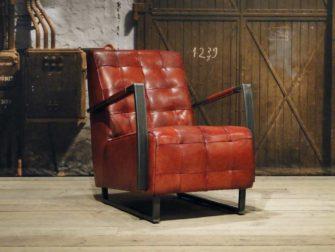 Industriële leren fauteuil cognac