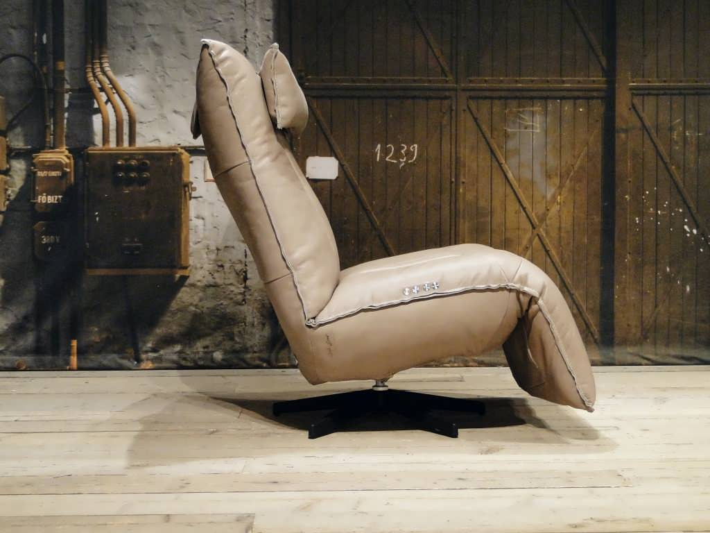 leren relax fauteuil taupe