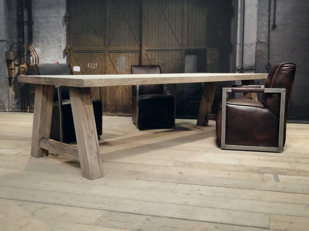 Massief Houten Tafel : Eiken blokpoot tafel limoges robuust eiken robuustetafels