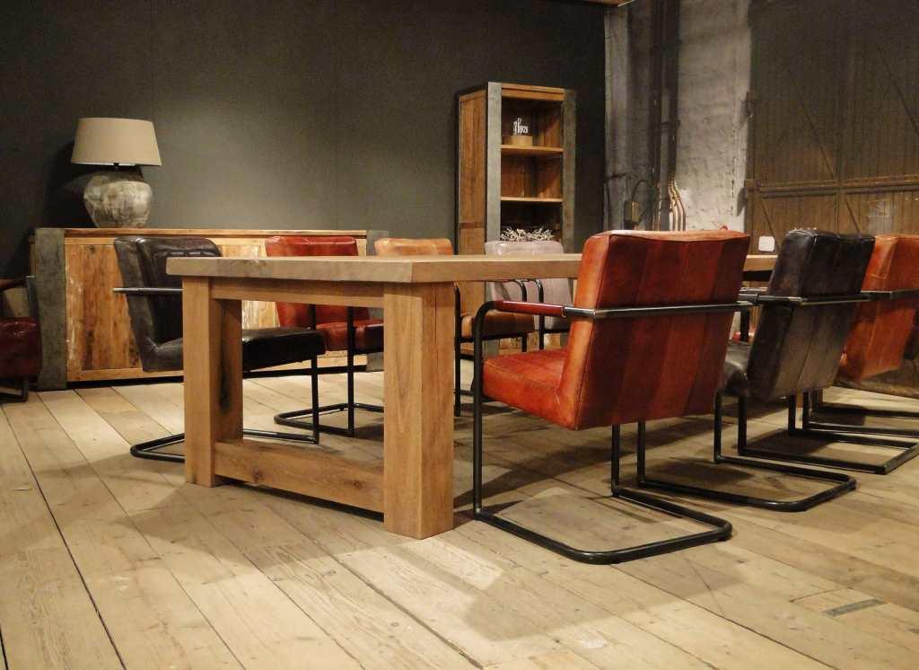 2 Persoons Tafel : Maatwerk balken tafel reidar rustiek eiken robuustetafels