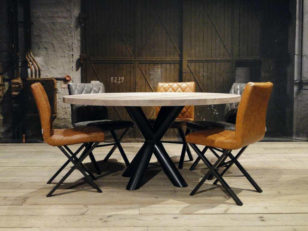 Ronde Eethoek Tafel : Ronde eiken tafel chaumont op maat gemaakt robuustetafels