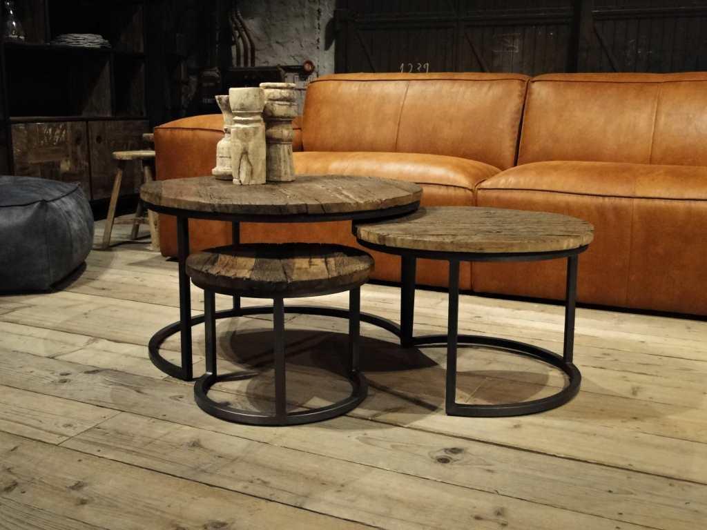 Salon Tafel Hout : Ronde salontafel monterado gemaakt van oud hout robuustetafels