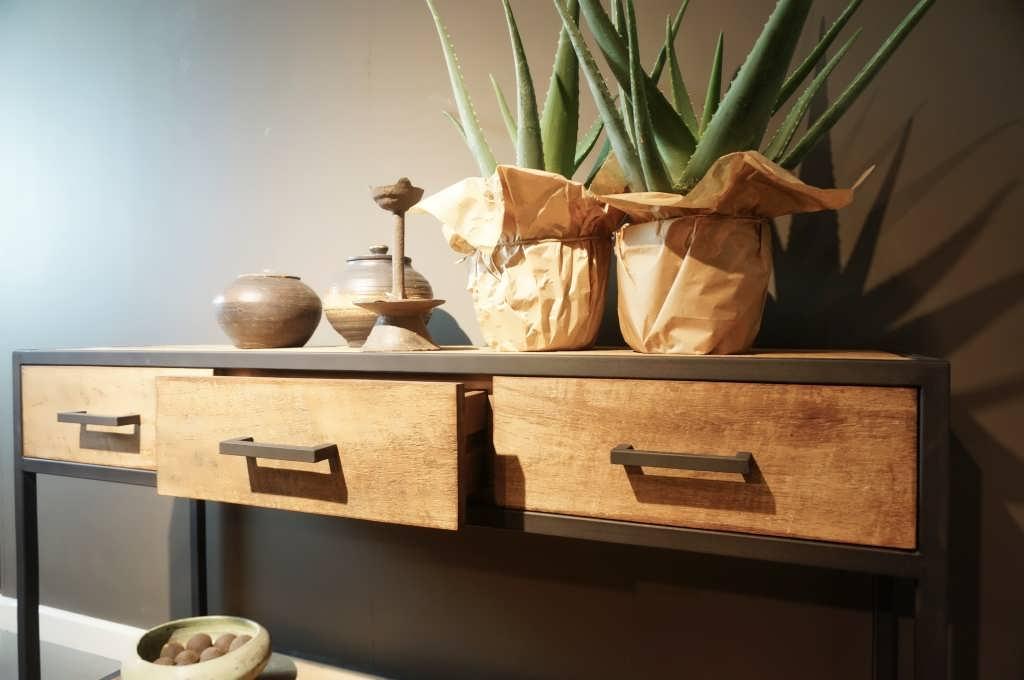 Side Table Met Lade.Industriele Side Table Maldini Leverbaar Uit Voorraad