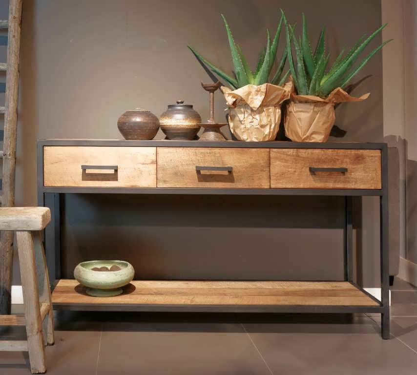 industriele side table met laden
