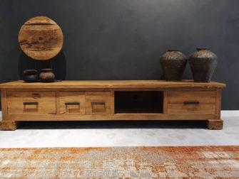 Houten tv meubel met open vak en lades