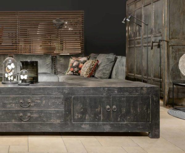 tv meubel oud hout zwart