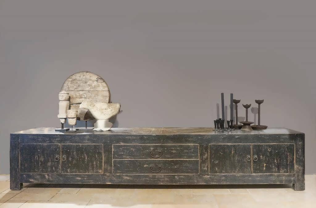 zwart tv meubel oud hout